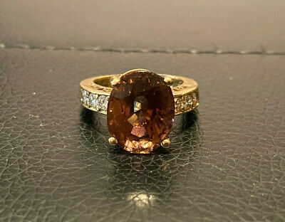 $650 • Buy 5.90 Carat Natural Tourmaline 18K Solid Yellow Gold Diamond Luxury Cocktail Ring