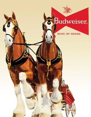 $ CDN10.70 • Buy BUD CLYDESDALE TEAM BUDWEISER KING OF BEERS BREWIANA TIN SIGN 1631 12.5 X 16