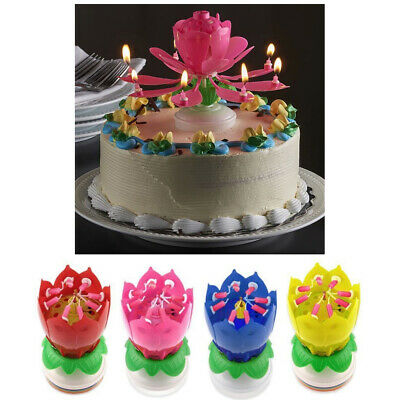 $ CDN14.26 • Buy 1 X Lotus Flower Musical Birthday Candle Rotating Spin Magic Cake Topper Party