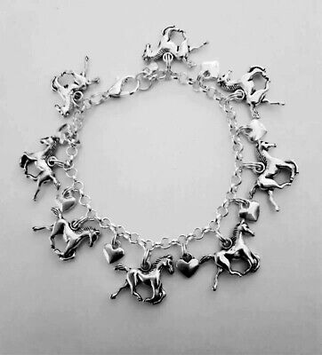 £7.99 • Buy Women's Silver Plated BRACELET Hearts HORSE Rider Riding I Love Horses Gift