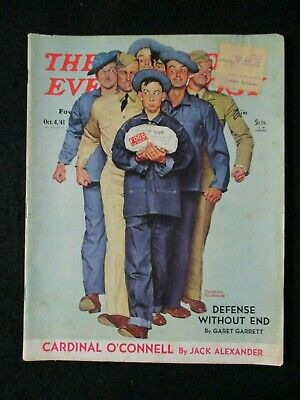 $ CDN44.64 • Buy Vintage Saturday Evening Post October 4, 1941 Norman Rockwell Cover
