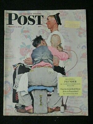 $ CDN191.37 • Buy Vintage Saturday Evening Post March 4, 1944 Norman Rockwell  TATTOO COVER