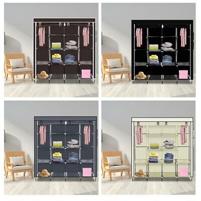 Portable Large Fabric Canvas Wardrobe Clothes Storage Rail Cover Cupboard • 19.95£