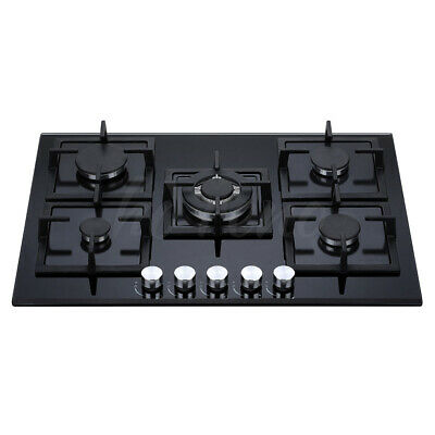 AU699 • Buy 70cm Gas Glass Cooktop 5 Burners Built In Natural Gas / LPG Black Safety Flame