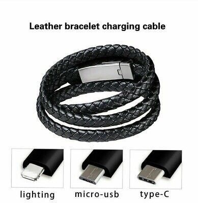 $10.58 • Buy Leather Bracelet Charger Cable Type-c Usb Bracelet Charger Data Charging Cable