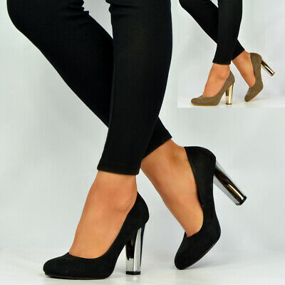 New Womens Ladies High Block Metal Heel Closed Toe Ankle Pumps Shoes Size Uk 3-8 • 5.99£