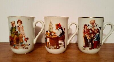 $ CDN9.21 • Buy 3 Vintage 1982 Norman Rockwell Museum The Cobbler,Toymaker, For A Good Boy Mugs