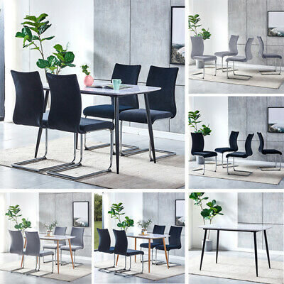 Modern 4 Velvet Dining Chairs + Marble Vein Table Set Fabric Dining Room Kitchen • 75.99£