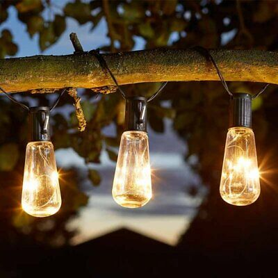 Edison Vintage Style Solar Powered LED String Lights Garden Parasol Fence Trees • 17.99£