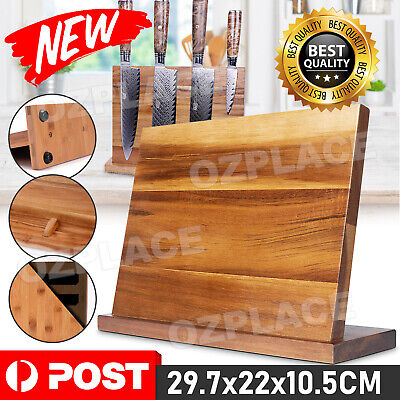 AU26.85 • Buy Bamboo Magnetic Knife Storage Cutlery Holder Stand Rack Block Kitchen Bar NEW