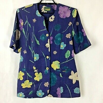 $44.99 • Buy Geiger Collections Austria Linen Jacket Size 40 Blue Floral Print Short Sleeve