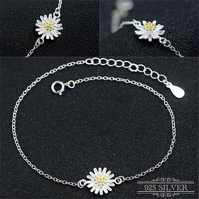 925 Sterling Silver Bracelet Anklet Daisy Flower Ankle Jewellery Chain Sunflower • 3.65£