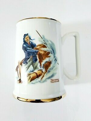 $ CDN23.66 • Buy Vtg Norman Rockwell Porcelain Tankard Cup Mug Braving The Storm Gold Trim 1984