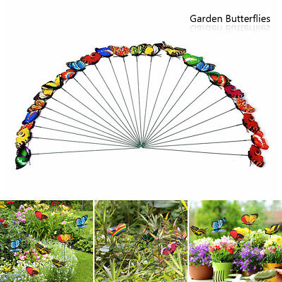 50pcs Colorful Garden Butterflies Stakes Patio Home Ornaments On Sticks Lawn UK • 8.39£