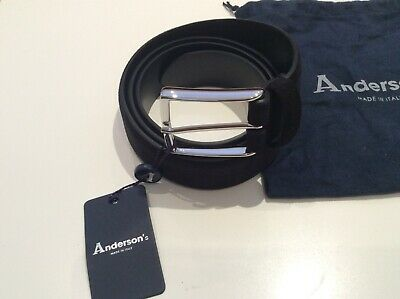 """£44.99 • Buy Anderson's Mens Suede Leather Classic Black Belt Made In Italy W40"""" RRP£95 SALE"""