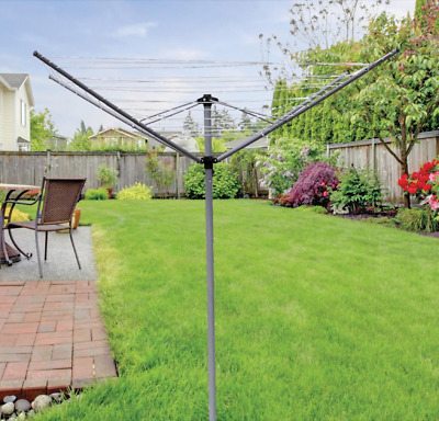 £29.95 • Buy 3/4 Arm 16/30/40/50m Rotary Clothes Airer Washing Line Dryer Garden Ground Spike