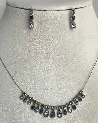 $ CDN35.02 • Buy Lia Sophia Dollop Necklace Earrings Blue Accents SilverTone Very Rare Must See!