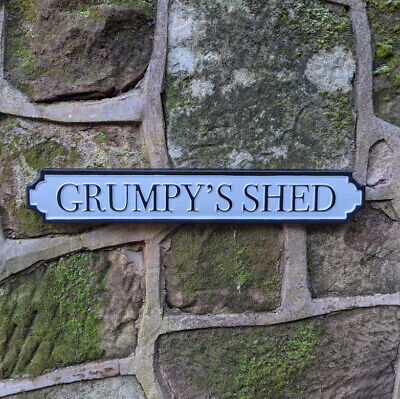 £12.95 • Buy Grumpy's Shed Antique Style Wall Mounted Street Sign White Plaque / Sign