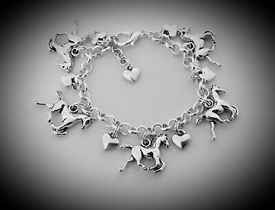 £6.99 • Buy Girls Jewellery Silver Plated BRACELET Hearts HORSE Rider Riding I Love Horses