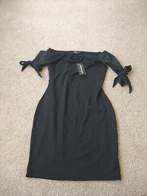 BNWT Black Bandeau / Strapless Summer Dress With Short Sleeves. Size S (UK 8-10) • 4.50£