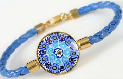 $67.50 • Buy Vintage Italy Beautiful Blue Glass Millefiori Leather Bracelet Gold Plated 7  !