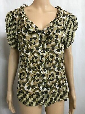 AU23 • Buy ANNE MARDELL NZ DESIGNER SIZE 14 Small? PATTERNED SILK/COTTON BUTTON UP TOP