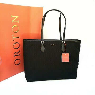 AU149 • Buy New Oroton Signet Handbag Tote Shoulder Bag Black Leather SALE