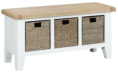 £252.11 • Buy Asher White Large Hall Bench / Solid Wood Hallway Shoe Storage Bench Seat / New