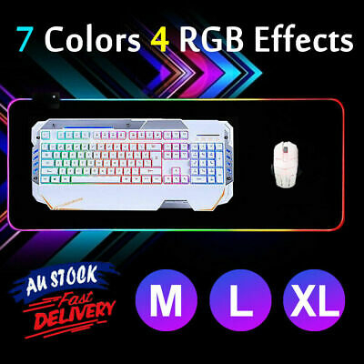 AU32.39 • Buy RGB LED Gaming Mouse Pad Desk Mat Extended Anti-slip Rubber Speed Mousepad M-XL
