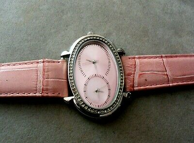 £14.19 • Buy Valletta Ladies Dual Time Face Watch With Rhinestones Bezel.japan Movt.