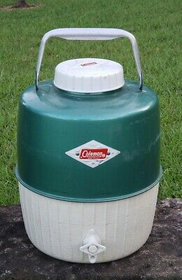 $19 • Buy Vtg Diamond Coleman Jug Cooler Green Water Thermos Camping W/ Drink Cup Star Top