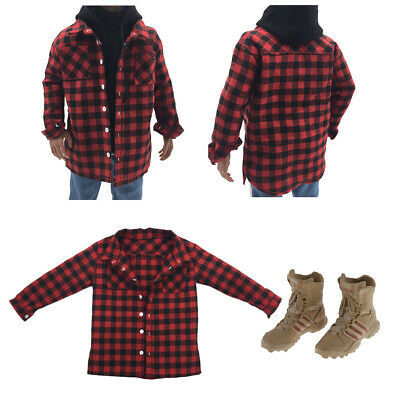 $17.63 • Buy 1:6 Men Red Plaid Shirt And Combat Boots Shoes For 12inch Enterbay