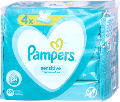 X4 Pampers Sensitive Fragrance-Free Baby Wipes [208 Wipes (4x52)] • 6£