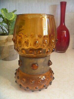 $20 • Buy Vintage Amber Blown Glass Vase Encased / Brass Wrapped  9  X 5