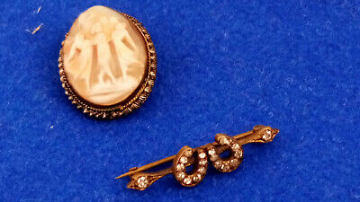 Vintage Brooches Horse Shoe And Three Graces Shell Cameo   • 24.99£