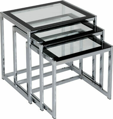 Clear Glass With Black Border & Chrome Nest Of Tables (Set Of 3) HAMPTON • 99£