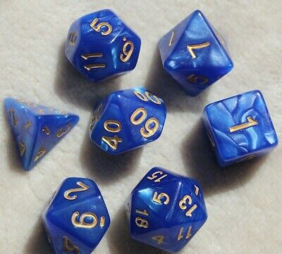 AU8.98 • Buy Dungeons & Dragons Polyhedral Blue & Gold 7 Piece Pearl Dnd Dice Set For RPG