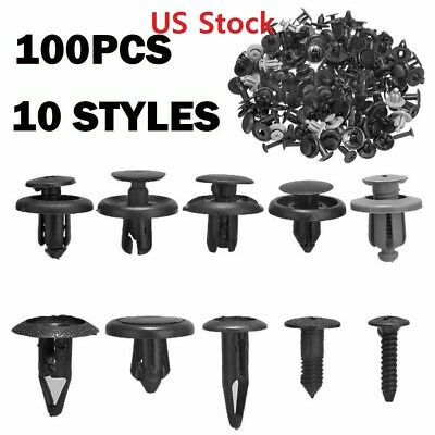 $99 • Buy 100x Trunk Screw Rivets Bumper Fender For Plastic Fastener Clips +4Pcs Free Tool