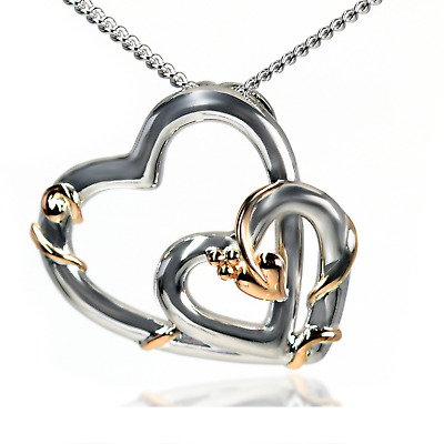 Clogau Pendant Double Heart Tree Of Life Rose Gold Sterling Silver 22  Chain • 89.99£