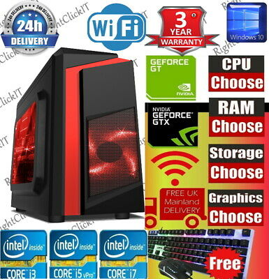 ULTRA FAST Quad Core  I5 I7 Gaming Computer PC 2TB+SSD 16GB RAM GTX 1660 Win10 • 299.99£