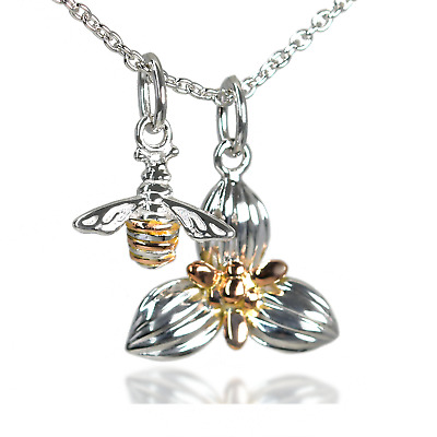 Clogau Pendant Double Charm Bee Orchid Rose Gold Sterling Silver 22  Chain • 99.99£