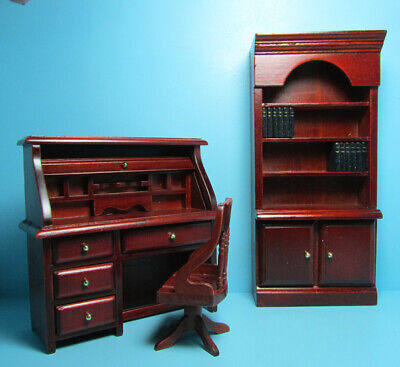 $20.69 • Buy Dollhouse Miniature Wood Roll Top Desk With Chair And Bookcase Mahogany GA0133M