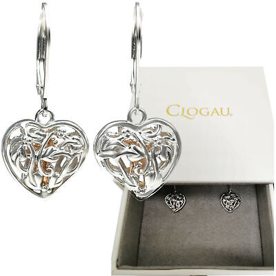 Clogau Earrings Fairy Heart Tree Of Life Welsh Silver 9ct Rose Gold Dangle NEW • 89.99£