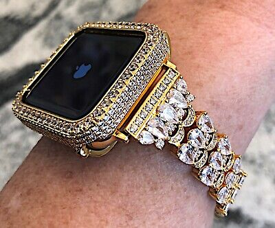$ CDN134.50 • Buy 2 Pc Set 42mm Series 2/3 Yellow Gold Lab Diamond Apple Watch Bezel + Watch Band