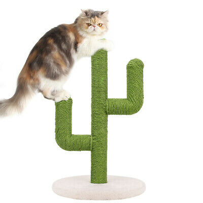 Handmade Cat Kitten Scratching Post With Round Base Strong Jute Rope Scratcher • 29.99£