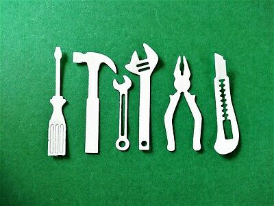 Men's Tools card Toppers, paper Die Cut, Card Making, (18 Pieces)birthday • 2.25£