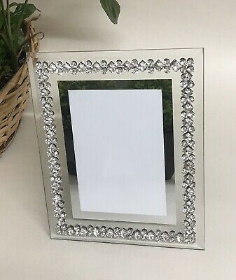 £15.89 • Buy 4x6 Glamorous Mirror Crushed Diamond Diamante Glass Mirrored Photo Frame Gift