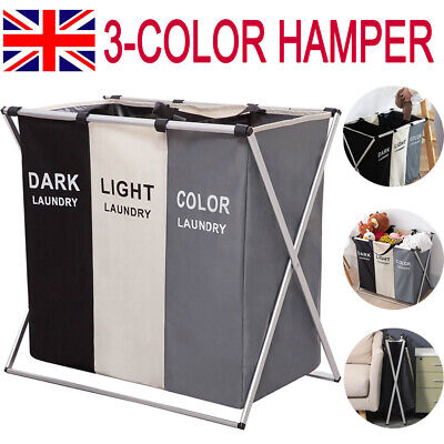 Laundry Clothes Basket Wash Hamper Bin Aluminium Folding Grids Dirty Storage Bag • 14.99£