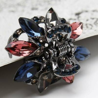 Women Butterfly Flower Hair Clips Claw Rhinestone Crystal Sparkly Small Clip IT • 2.27£