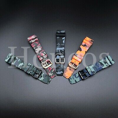 $ CDN13.39 • Buy 22 MM Black Silicone Rubber Watch Band Strap Fits Seiko Diver Camouflage Camo